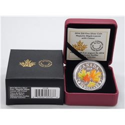 2014 .9999 Fine Silver $20.00 Majestic Maple Leaves with Colours, Limited Edition with C.O.A (sxr)