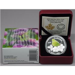 RCM 2015 - .9999 Fine Silver $20.00 Coin 'Butterfly - Colias Gigantea' LE with C.O.A. Hologram Box (