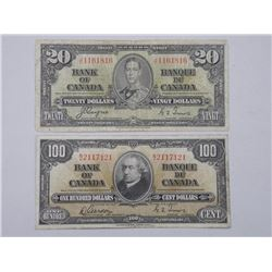 Lot (2) Bank of Canada 1937 Twenty Dollar and One Hundred Dollar Notes.