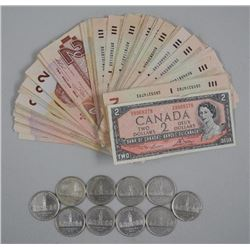Lot - (100) Bank of Canada Two Dollar Notes Mixed and (10) 1939 Silver One Dollar