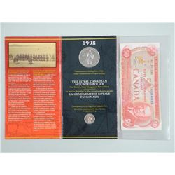 RCMP - Silver Dollar and Pin Set, and 1975 Bank of Canada Fifty Dollar Note with Formation