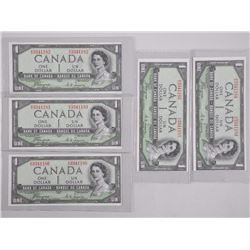 5x Bank of Canada One Dollar Notes - UNC 'Devil's Face' Sequential (IER) (182-186) (ATTN: 5 Times th