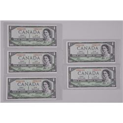 5x 'Bank of Canada' 1954 GEM UNC Devil's Face. Run of 5 in Sequence. (SMXE) (ATTN: 5 Times the bid p