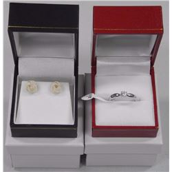 Lot (2) 925 Silver Solitaire Ring and Loveknot Earrings. Size 7.