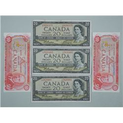 Lot (5) Bank of Canada includes (3) 1954 Twenty Dollar Notes Modified Portrait and (2) 1975 Fifty Do