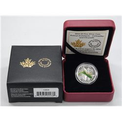2014 - RCM .9999 Fine Silver 'Caterpillar and Chrysalis' Coin. LE with C.O.A.
