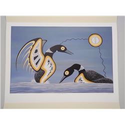 'Barry Peters' LE Giclee. 'Mating Display, Loons' 14x22 unframed- Original Folio with C.O.A. Apprais
