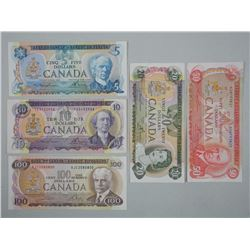 Lot (5) Bank of Canada - Notes. 1970s - Five, Ten, Twenty, Fifty, One Hundred Dollar Notes.