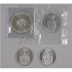 4x Silver $1.00 and 50 Cent Coins. Includes - (2) 1964 P.L. Dollars and 1964/1965 50 Cent (ATTN: 4 T