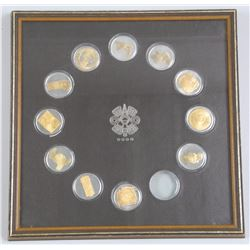 Estate 11x Coins - Set 925 Sterling Silver with 24kt Overlay Gallery Frame (ATTN: 11 Times the bid p