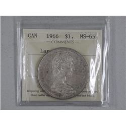 1966 Canada Silver Dollar Coin (MS-65) 'ICCS' (CER)