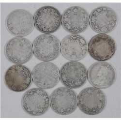 15x Canada Silver 25 Cent Coins - Mix of Monarchs and Dates (ATTN: 15 Times the bid price)