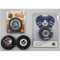 Hockey Puck Collection - Includes - (3) TML Special Pucks and NHL All Star Signed Mats Sundin