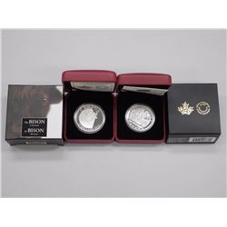 2x RCM - Hunting Bison and Bison Coins - .9999 Fine Silver. LE with C.O.A. (ATTN: 2 times the bid pr