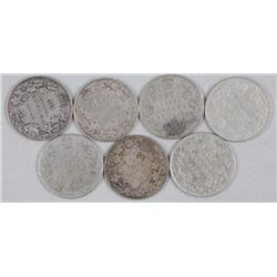 7x Canada Silver 50 Cent Coins - Mix of Monarchs and Dates (ATTN: 7 Times the bid price)