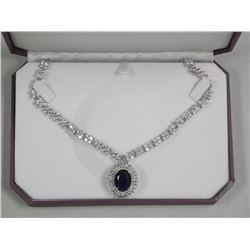 Ladies Diana Style Necklace with Swarovski Elements and Oval Sapphire Blue Swarovski Elements. All H