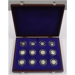 (1953-2003) Coronation Anniversary Silver Proof - (12) 50 Pence Collection. All Original with Case.