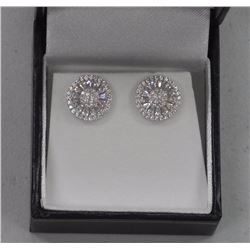 Ladies .925 Sterling Silver Wheel Design Stud Earrings. Micro Pave set with Baguettes and Round bril