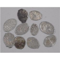 (10) Mixed Ancient 'Tsars' Wire Money. 1584-1725. (10 Times the Bid Price).