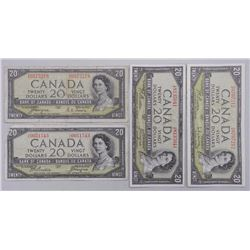 4x Bank of Canada 1954 Twenty Dollar Note. Includes 2 Modified Portrait and 2 Devil's Face. 3 Signat