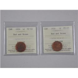 2x 1950 - Canada Rare 1 Cent (ER) Red and Brown (MS62-MS63) (ATTN: 2 Times the bid price)