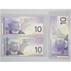 3x Bank of Canada UNC Ten Dollar Notes - Bird Series (ATTN: 3 Times the bid price)