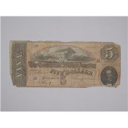 1864 - Confederate States of America Five Dollars