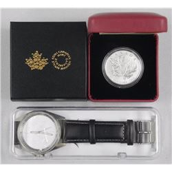 RCM 2016 - .9999 Fine Silver 'Maple Leaf' Coin and Silver Maple Leaf Watch