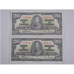 2x Bank of Canada 1937 Twenty Dollar Note. 2 Signature Sets (ATTN: 2 Times the bid price)