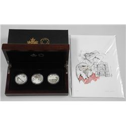 RCM - 2016 'Reflections of Wildlife' 3 Coin Set, .9999 Fine Silver LE with C.O.A. Mahogany Display C