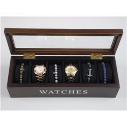 Gents Watch Storage Case with 2 Watches and 4 Bead Bracelets.