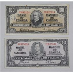 Lot (2) Bank of Canada 1937 One Hundred Dollar and Ten Dollar Note