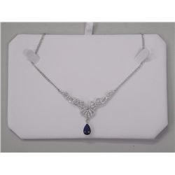 Ladies Custom Graduated Necklace Set in 925 Silver 3.25ct Pear Shape Swarovski Elements and 100 Roun