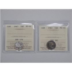 2x Canada Silver 10 Cent Coins (MS-64) 'ICCS' (ATTN: 2 Times the bid price)