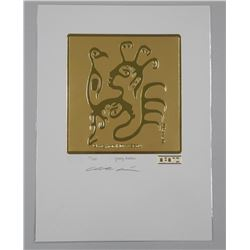 Christian Morrisseau (1969-) 24kt Gold Motif 'Ojibway Brothers' Hand Signed. LE / 100 Worldwide. Sea