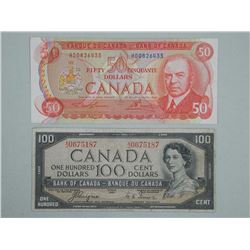 Lot (2) Bank of Canada Fifty Dollar Note and One Hundred Dollar Note - 1975 and 1954