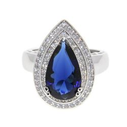Ladies 925 Silver Sapphire Blue Pear Shape Custom Ring with Micro Pave Set CZ. Size 8