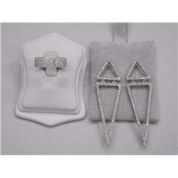 Ladies .925 Sterling Silver ring and Earring Set. Micro Pave Set Swarovski Elements. Wide Band and 2