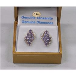 Ladies 14kt Gold Custom Earring Set with Genuine Tanzanites and White Sapphires. SRRV: $4700.00 (BB2