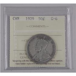 Canada 1929 50 Cent Silver (G-6) ''ICCS'