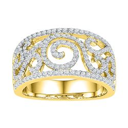 0.63 CTW Natural Diamond Swirl Filigree Band 10K Yellow Gold