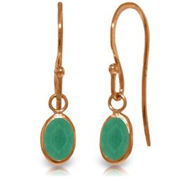 Genuine 1 ctw Emerald Earrings Jewelry 14KT Rose Gold - REF-19T3A