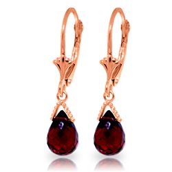 Genuine 4.5 ctw Garnet Earrings Jewelry 14KT Rose Gold - REF-22R7P