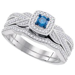 0.4 CTW Blue Colored Diamond Bridal Engagement Ring 10K White Gold