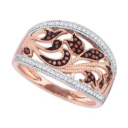 0.25 CTW Red Colored Diamond Milgrain Floral Band 10K Rose Gold