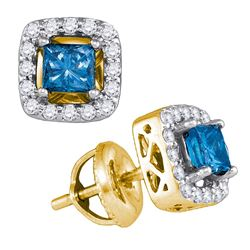 0.75 CTW Princess Blue Colored Diamond Stud Earrings 10K Yellow Gold