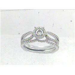 14K White Gold 0.53CTW Diamond Wedding Ring Set - REF-72N4A