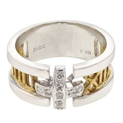 14K Two Tone Gold 0.12CTW Diamond Fashion Ring - REF-77Y7X