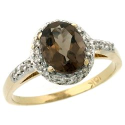 Natural 1.3 ctw Smoky-topaz & Diamond Engagement Ring 14K Yellow Gold - REF-32F2N