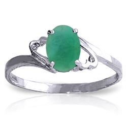 Genuine 0.75 ctw Emerald Ring Jewelry 14KT White Gold - REF-27N8R